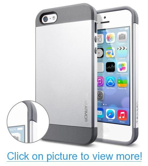 Spigen SGP10090 Slim Armor Case for iPhone 5/5S - 1 Pack - Retail Packaging - Satin Silver