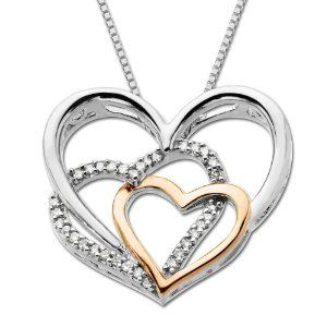 Sterling silver and 14k pink gold diamond triple heart pendant sterling silver and 14k pink gold diamond triple heart pendant necklace 18 jewelry aloadofball Images