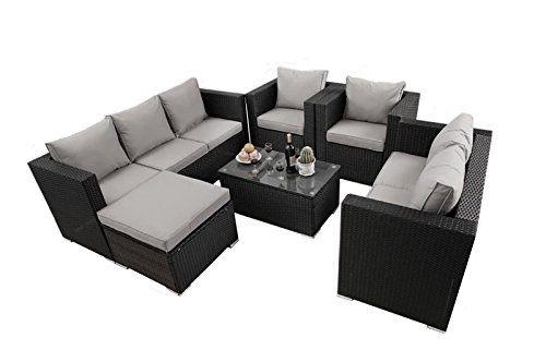 Yakoe 51013 New Rattan Garden Furniture Table Chairs Sofa Set Black Furniture Sofa Set Black Rattan Garden Furniture Living Room Furniture Sofas