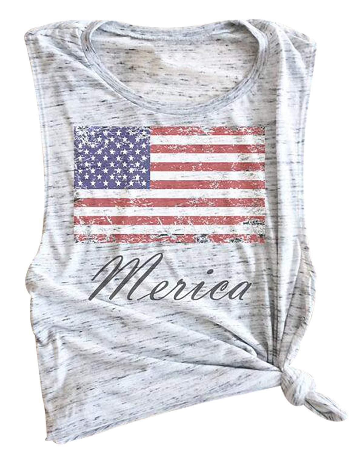 Bangely Merica Usa Flag Star Stripe Letters Print Womens Tank Tops Casual Patriotic Vest T Shirt Clo Amazon Distressed Shirt Patriotic Shirts Vest Style Women