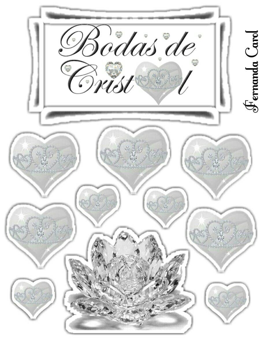 Topper Bodas De Cristal 15 Anos Com Imagens Bolo Romantico