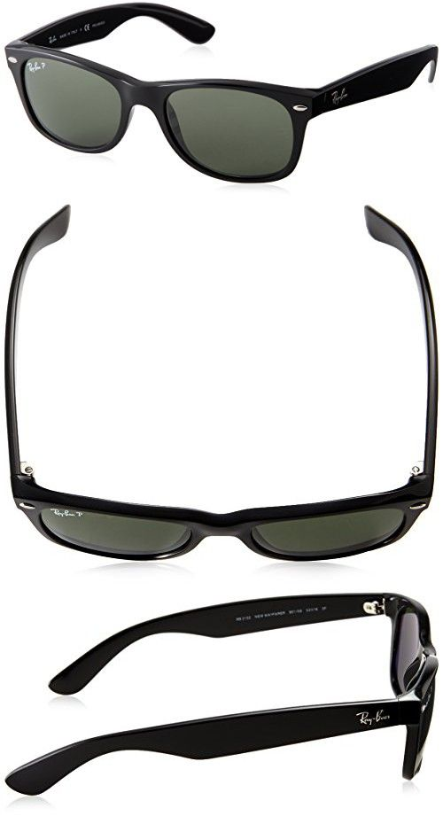 6e462d1abd296 Ray-Ban RB2132 - New Wayfarer Non-Polarized Sunglasses Black Frame Crystal Green  Lens Size 55