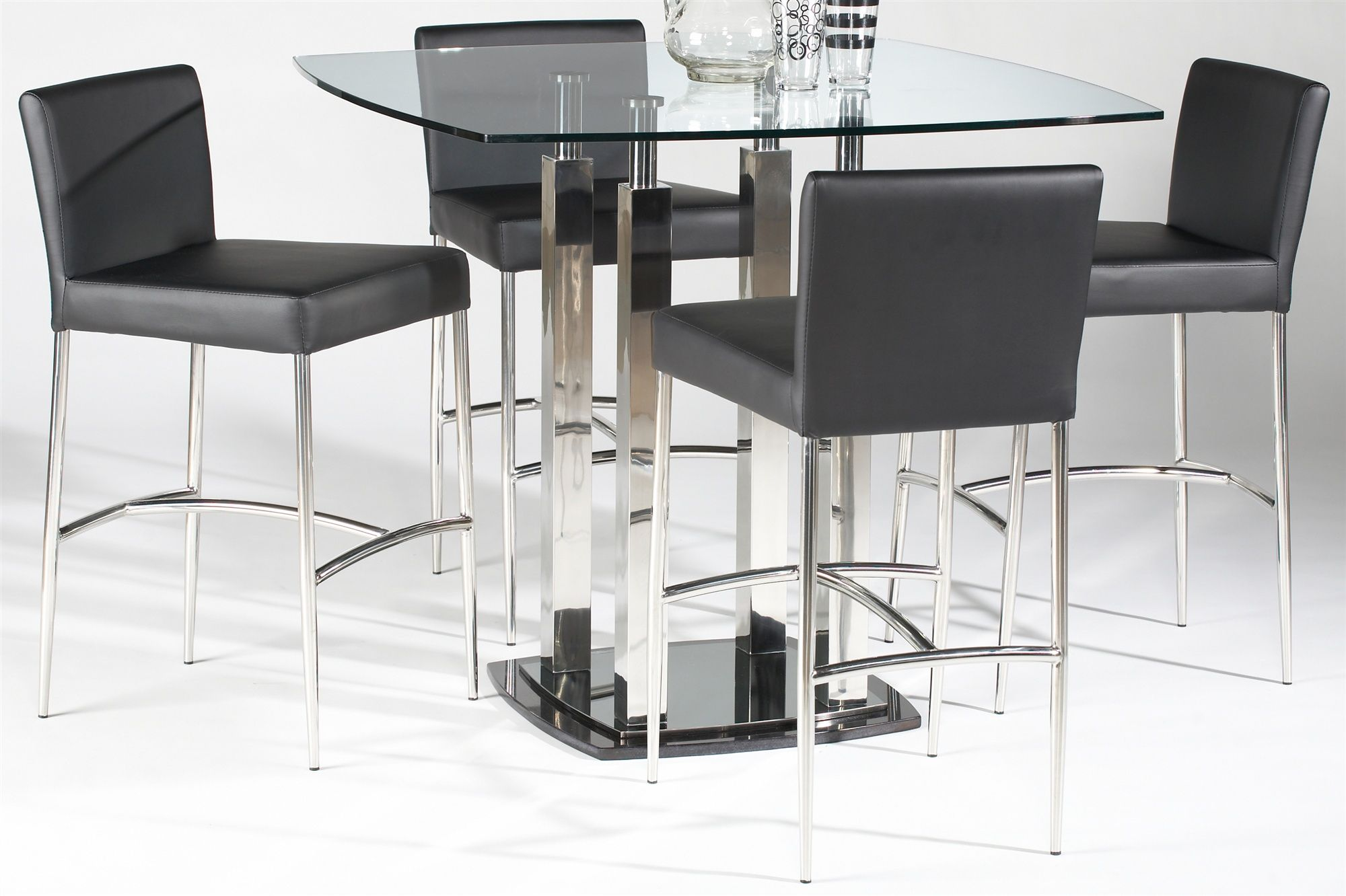 Picture of Chintaly Contemporary Counter Height Glass Dining Table ...