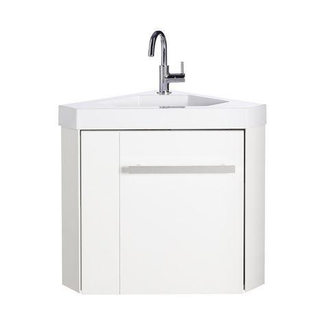 Lave mains d 39 angle blanc levyne castorama lave main wc Meuble haut wc castorama