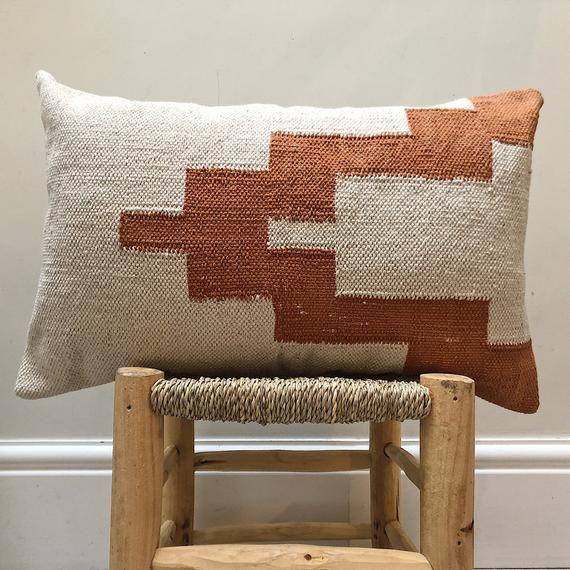 Boho cushions ~ brown cream rust cushion lumbar ~ woven moroccan cushion ~ boho cushion cream ~ bohe