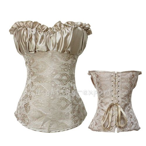 a314a2cdda0 New Satin Lace Up Sexy Boned Corset Beige Gray Women s Bustier Plus Size s  6XL
