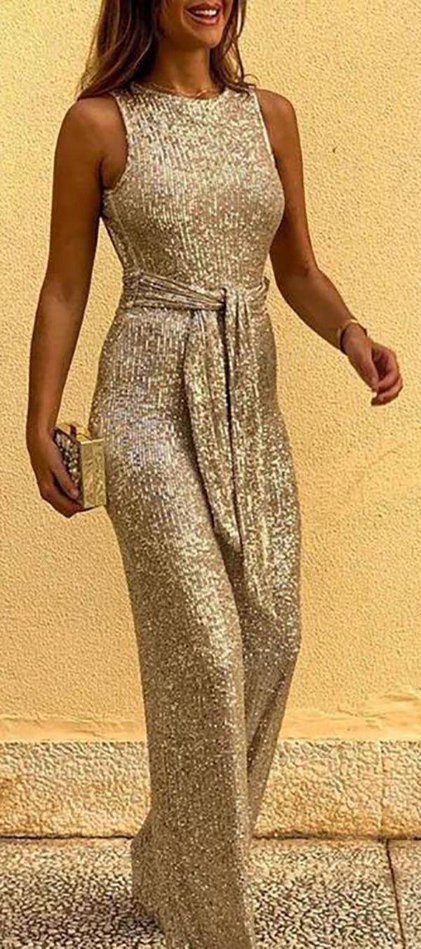 Photo of Hot Sale!Glitter Round Neck Sleeveless Backless Sequins Jump…