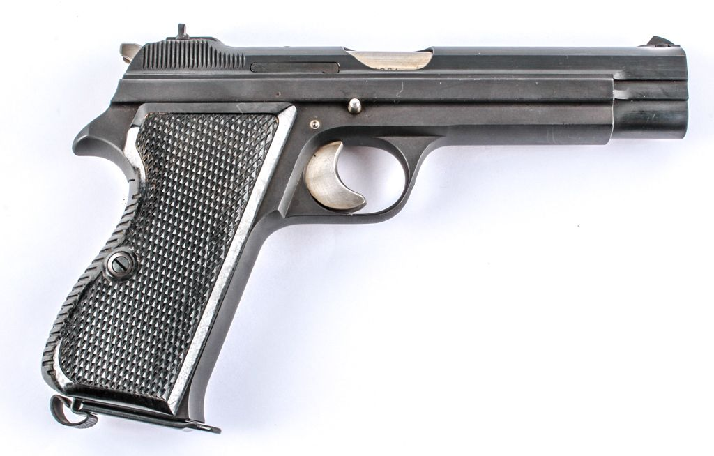"""This highly collectable Swiss Military SIG Arms Model P210-2 in 9mm Semi Auto Pistol is more than 50 years old but has seen very little usage. This particular handgun is a Swiss Army issue as evidenced by the """"A"""" at the beginning of the SN. There is also a """"P"""" stamped into the front of the trigger guard which indicates the weapon was given to the soldier as a gift upon leaving the Armed Service. Features locked breach semi auto short recoil operated single action, 4.7"""" barrel length, 8.5""""…"""