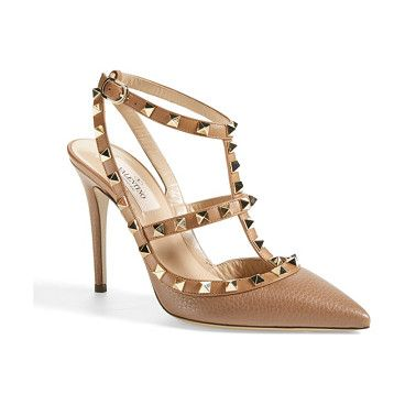 VALENTINO rockstud t-strap pump found on Nudevotion. #darknude