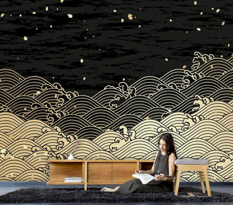 Waves Drawing Wallpaper Japanese Design Home Decorwall Etsy Drawing Wallpaper Wave Drawing Wallpaper