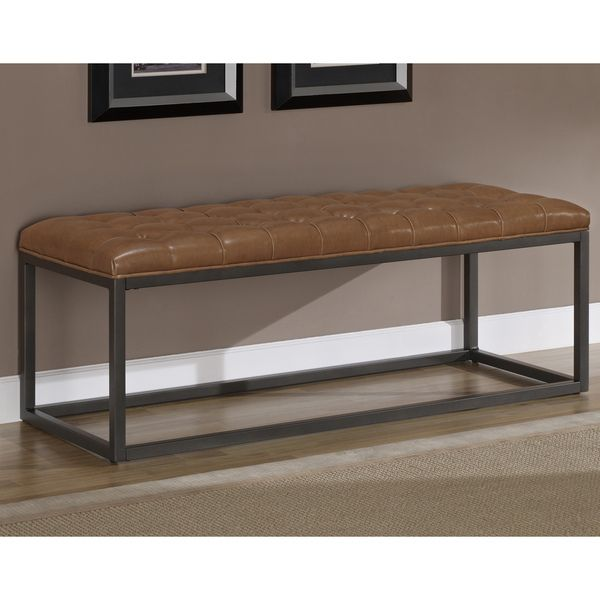Healy Saddle Brown Bonded Leather and Metal Bench | Living Room ...