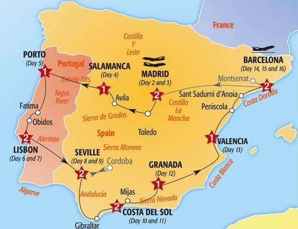 Mapa Espanha E Portugal.Roteiro De Viagem Por Portugal E Espanha De Carro Espanha Roteiro De Viagem Portugal Roteiro Portugal