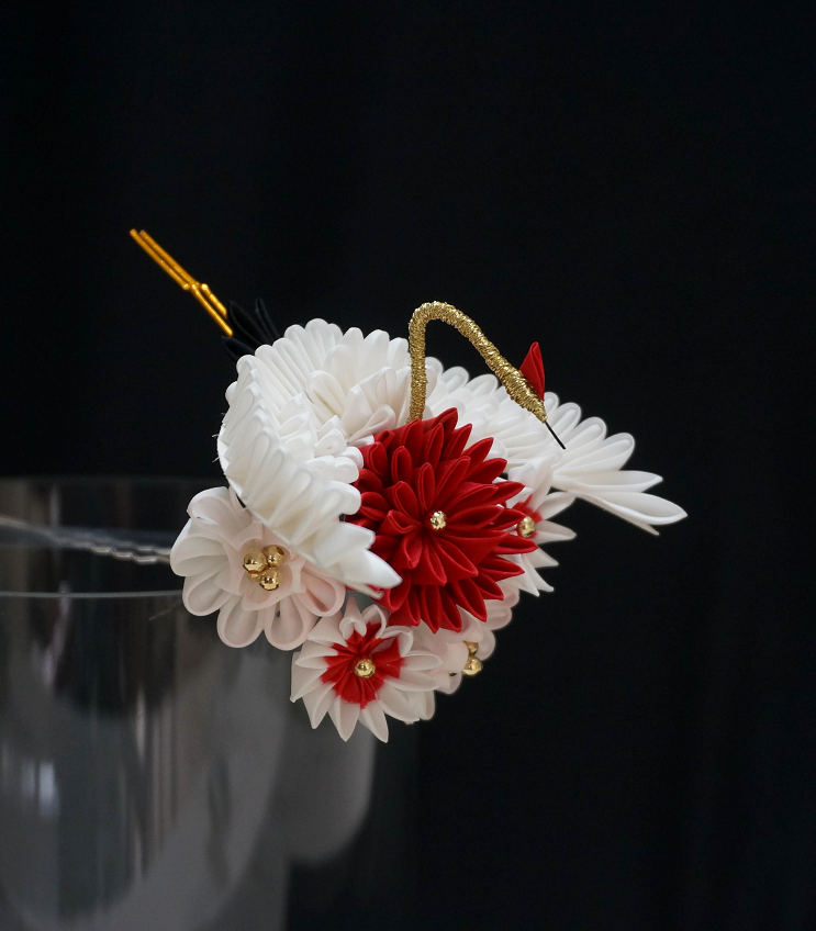 Japanese Kanzashi Tsuru Cranes Hair Stick Ornament Accessory with Red Tone Bead