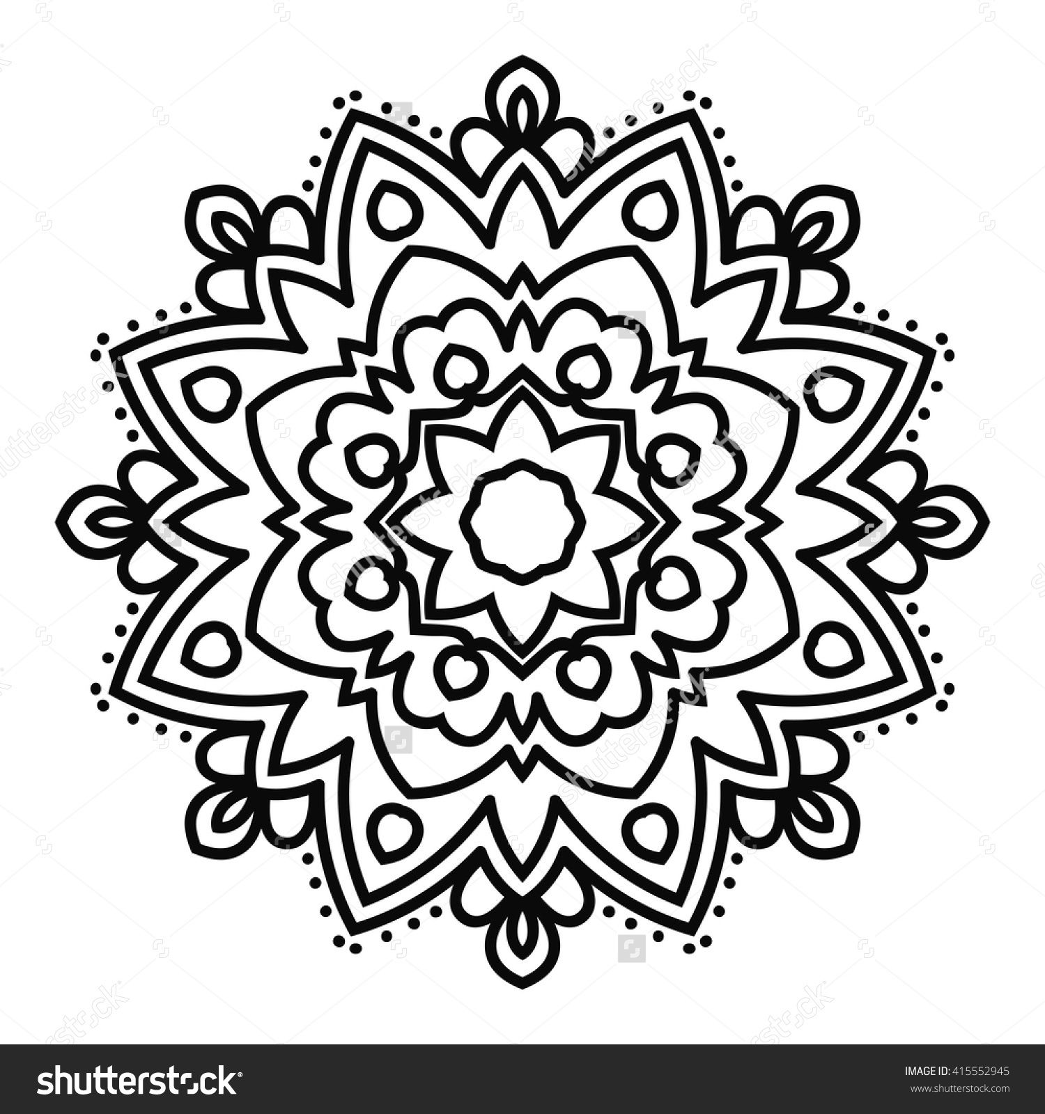 Ornamental round doodle flower isolated on white background. Black ...