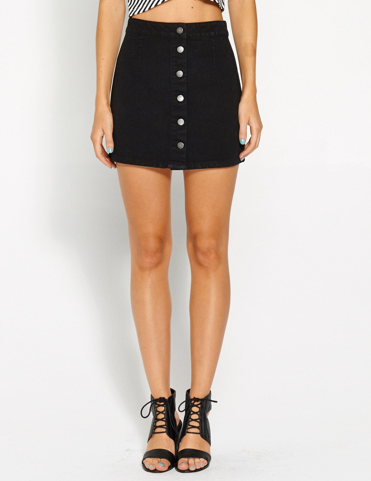 16e49fa90e6 Myah Black Denim Button Up Mini Skirt
