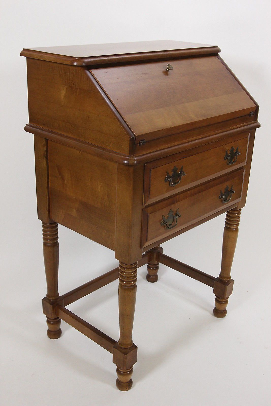 Maple 2 Drawer Secretary Pee Desk With Fold Out Door Early American Furniture