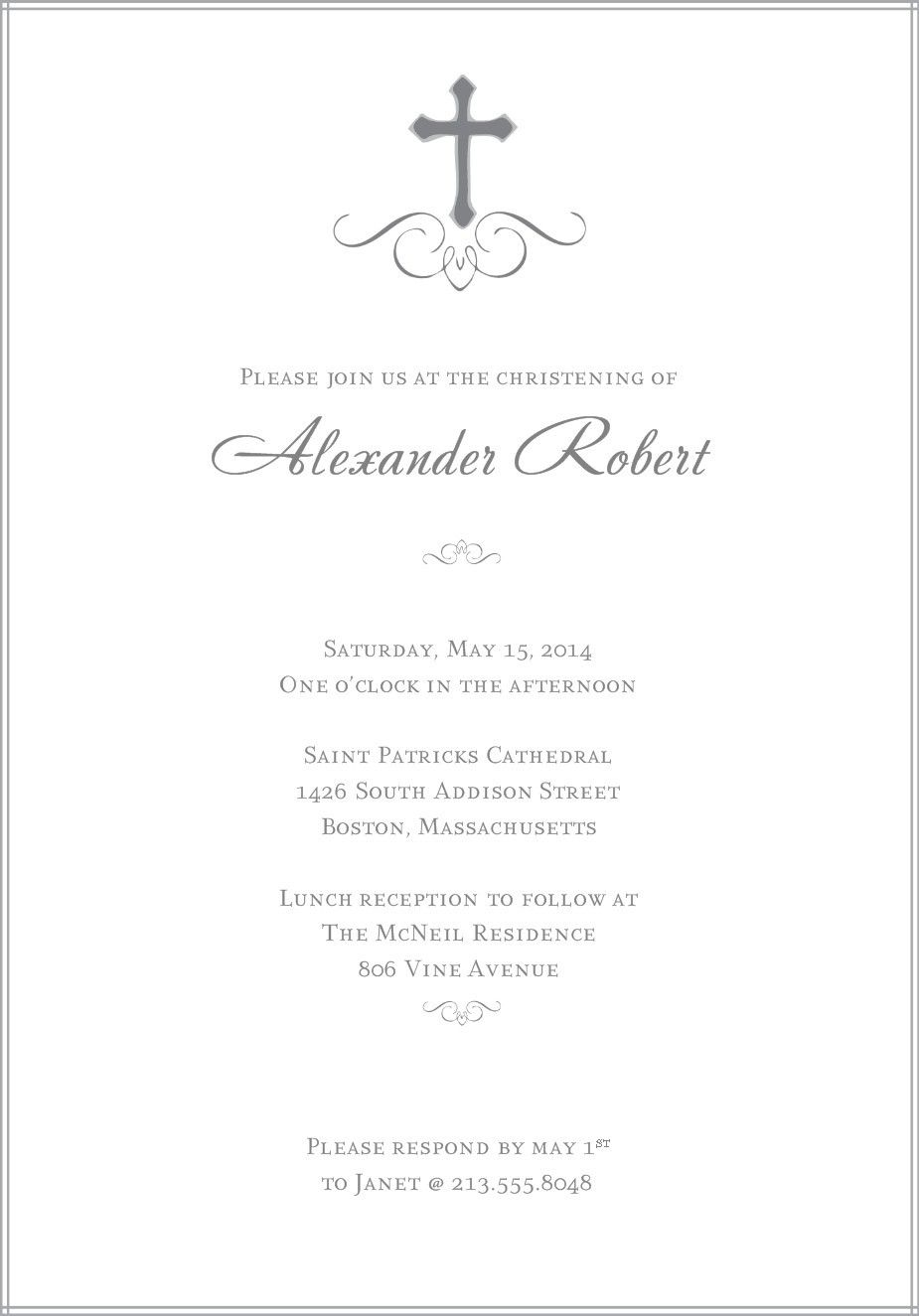 Customized Invitation Cards Christening