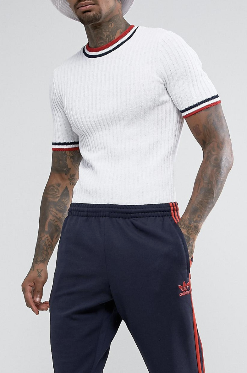 Muscle Fit Ribbed Tee With Tipping Detail In White - White Asos New Online Buy Cheap New Styles Excellent Sale Online Cheap Sale Release Dates Pay With Paypal Cheap Online gxMSQ9