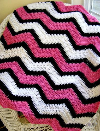 Chevron Crochet Handmade Baby Blanket Afghan Wrap Vanna Yarn Pink ...