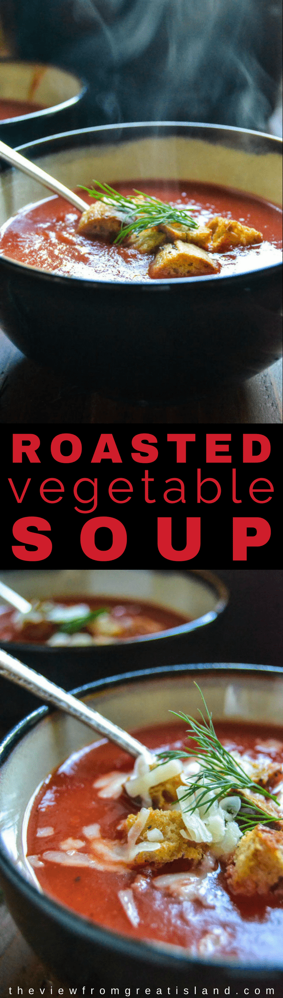 Roasted Winter Vegetable Soup My healthy Roasted Winter Vegetable Soup is the most gorgeous shade of crimson you've ever seen! This comforting vegetable soup is full of vitamins and antioxidants to get you through the winter in tip top shape.