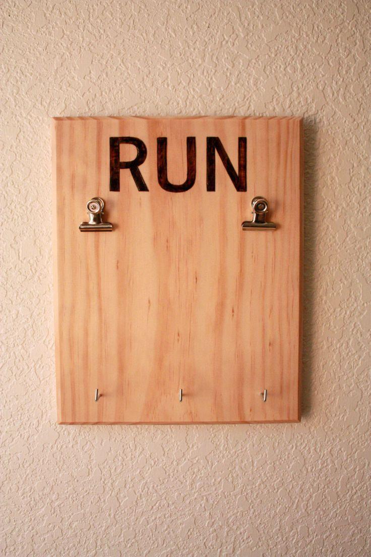 Wooden Runner\'s Bib and Medal Display, Race Bib Display, Woodburned ...