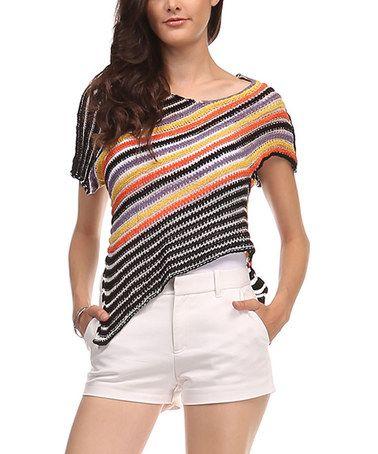 Look what I found on #zulily! Black Stripe Asymmetrical-Hem Top #zulilyfinds