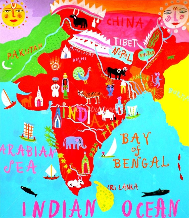 illustration by Christopher Corr Illustrated map, India