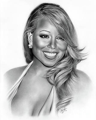 Pin By Fernando On Black And White Celebrity Drawings Mariah Carey Portrait
