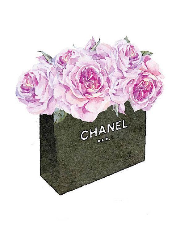 Chanel No5 8.5x11 Roses watercolor watercolour by hellomrmoon ... b7f910341e