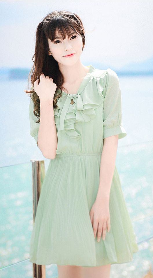 050864115a7 Fashiontroy Cute   sweet short sleeves V-neck green pleated ribbon ruffled chiffon  mini dress