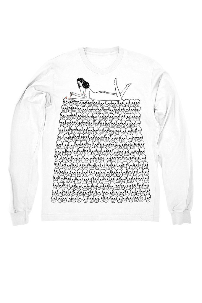 Designed by Kaye Blegvad White L/S tee w/ black & pink