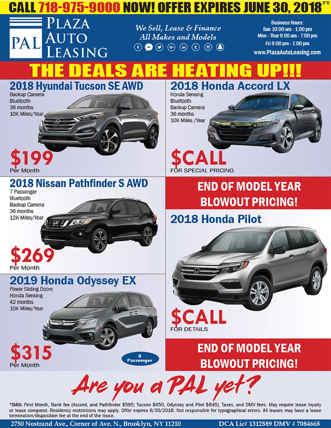 This Weeks Specials From Your Pals At Plaza Auto Leasing Sales Are You A Pal Yet Www Plazaautoleasing Com Car Lease Special Honda Accord Lx