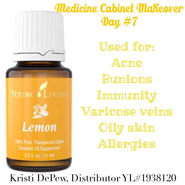Medicine Cabinet Makeover, Day 7: Lemon! Used for centuries in cleaning supplies, this essential oil had many disinfecting properties, and is great for combatting allergies and improving your skin!  #lemon #mcm #EssentialOils #oils #oilObsessed #ilovemyoils #naturalmedicine #natural #PremiumStarterKit #skincare #TeamYL #YL #YLEO #YoungLiving #YoungLivingEssentialOils