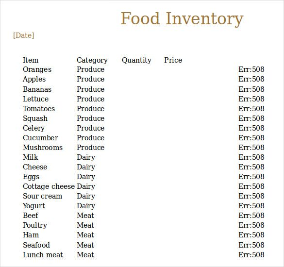 A food inventory template is an archive that stores the food items ...