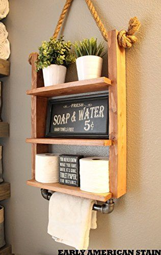 Hanging Bathroom Shelves Interesting Amazon Rustic Hanging Bathroom Shelf With Industrial Towel Bar