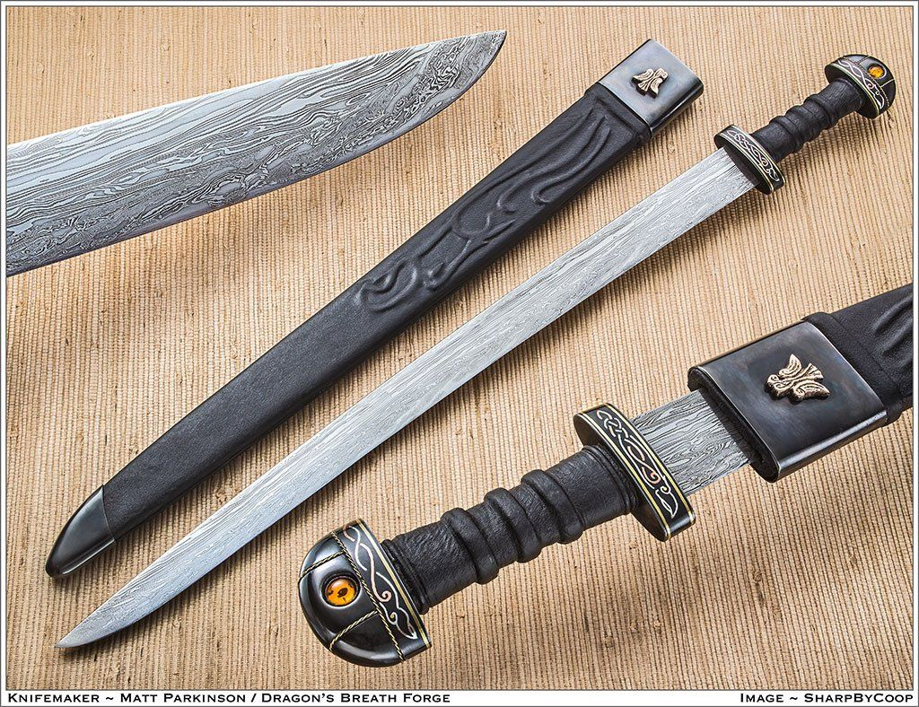 15n20 X2f 1080 Damascus Blade Steel Fittings Inlaied In Silver Copper And Bronze With Amber Handmade Knives Viking Sword Sword