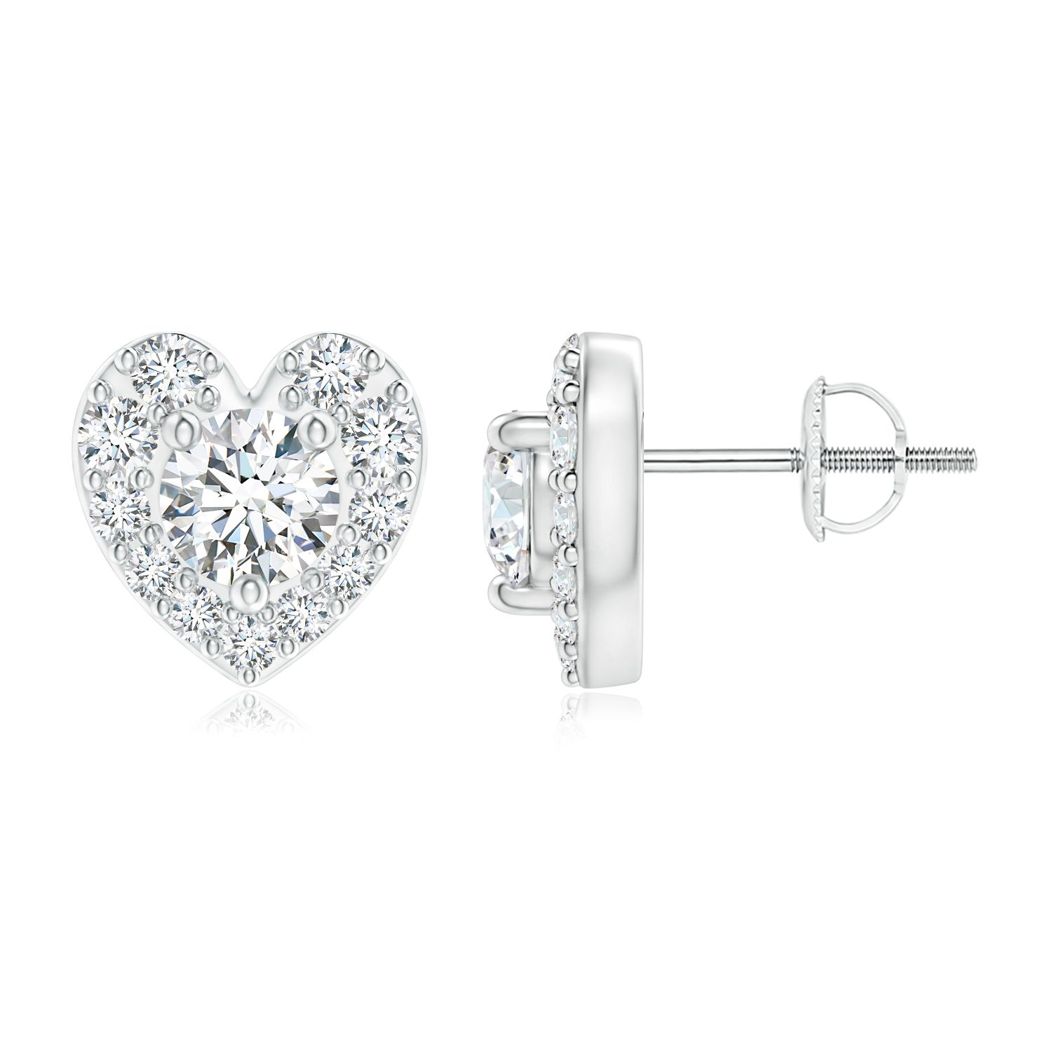 Angara Heart Shaped Two Stone Diamond Stud Earrings in Platinum