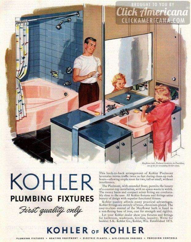 Photo of Kohler Badarmaturen in Peachblow Pink (1957) – Click Americana