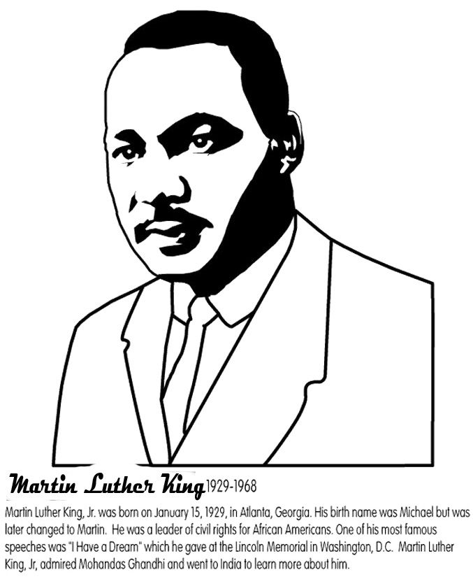 martin luther king coloring sheets Google Search Happy