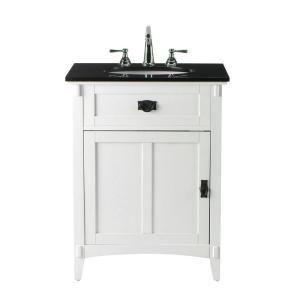 Artisan 26 In W X 34 In H Bath Vanity In White With Granite Vanity Top In Black 0426200410 At The Home Depot Granite Vanity Tops Vanity Bath Vanities