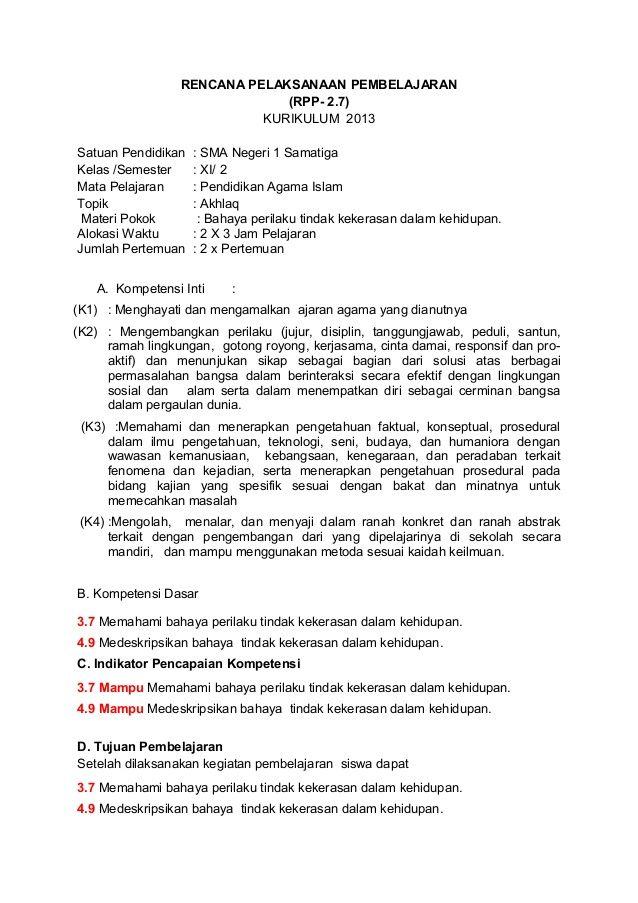 Rencana Pelaksanaan Pembelajaran Rpp 2 7 Kurikulum 2013satuan Pendidikan Sma Negeri 1 Samatigakelas Semester Xi Baju Kurung Lahat Rasa