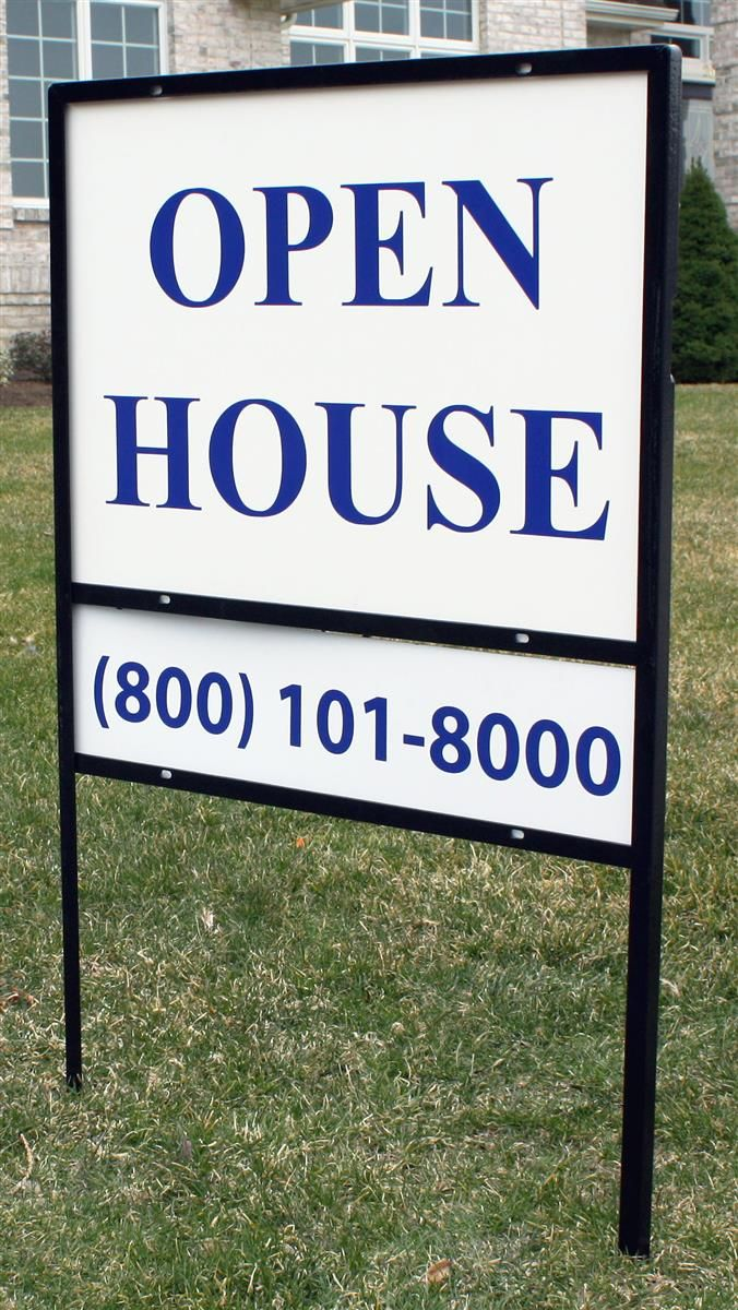 24 x 18 real estate signs with ground stake h frame with sign - Yard Sign Frames