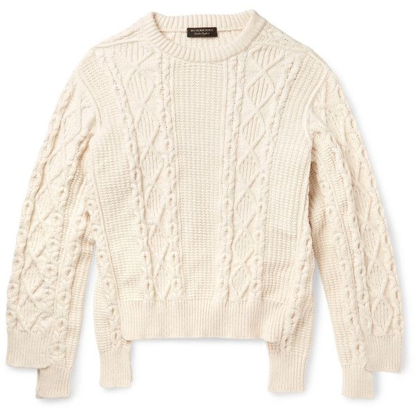 Burberry Runway Oversized Cable-Knit Cotton-Blend Sweater ($895 ...