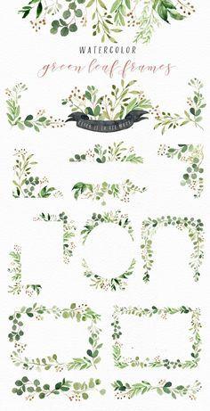 Watercolor Green Leaf Clip Art/Greenery/Small Set/Eucalyptus/Wild Leaf/Spring/Green
