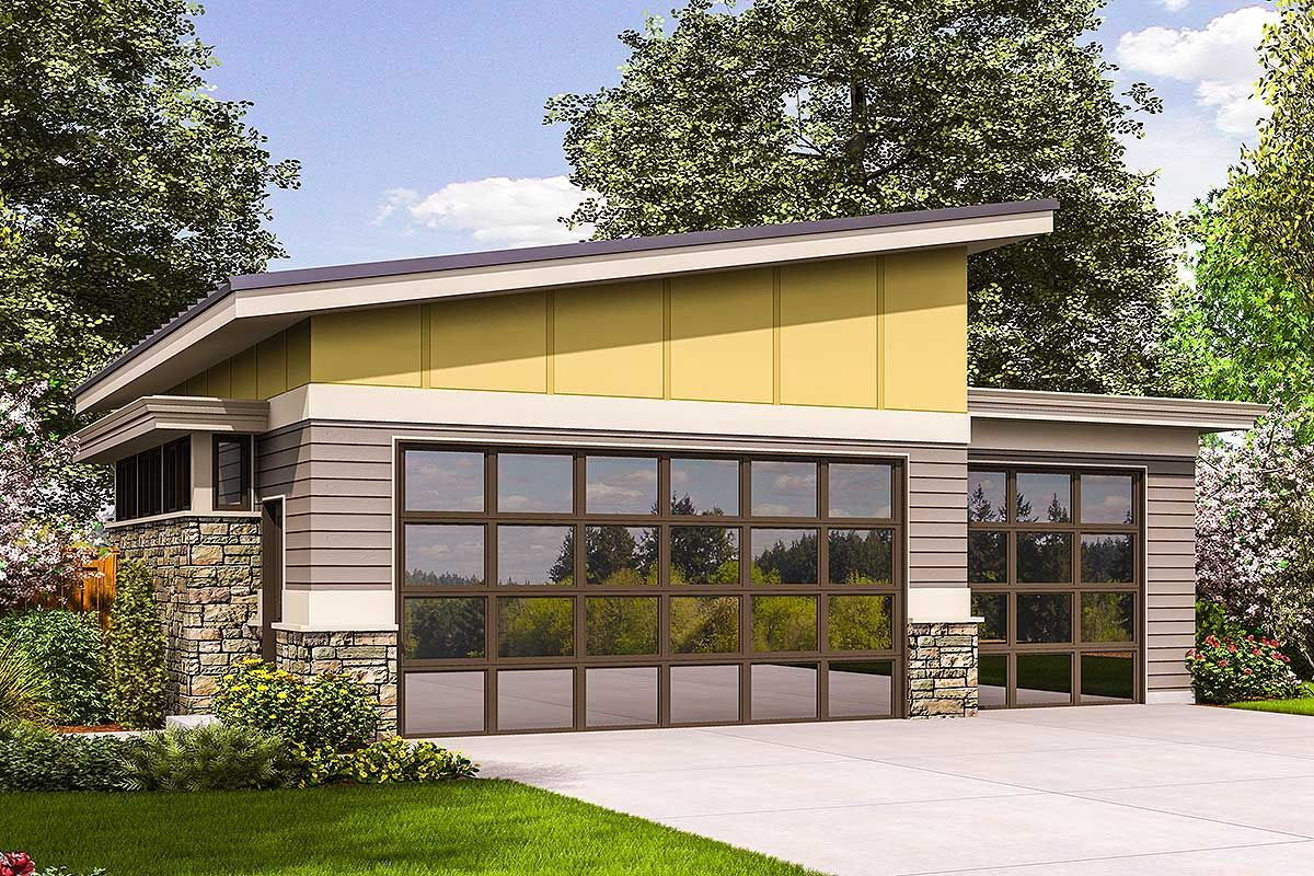 Plan 69618am Contemporary Garage Plan Contemporary Garage Doors