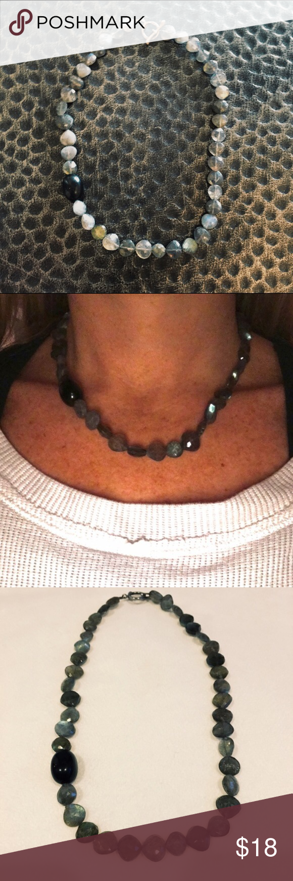 🆕Grey-ish Beaded Necklace Handmade Off center black stone with smokey grey stones. Stones were very expensive. Not sure type of stone. Toggle clasp. Short but looks cute dress or casual. Jewelry Necklaces