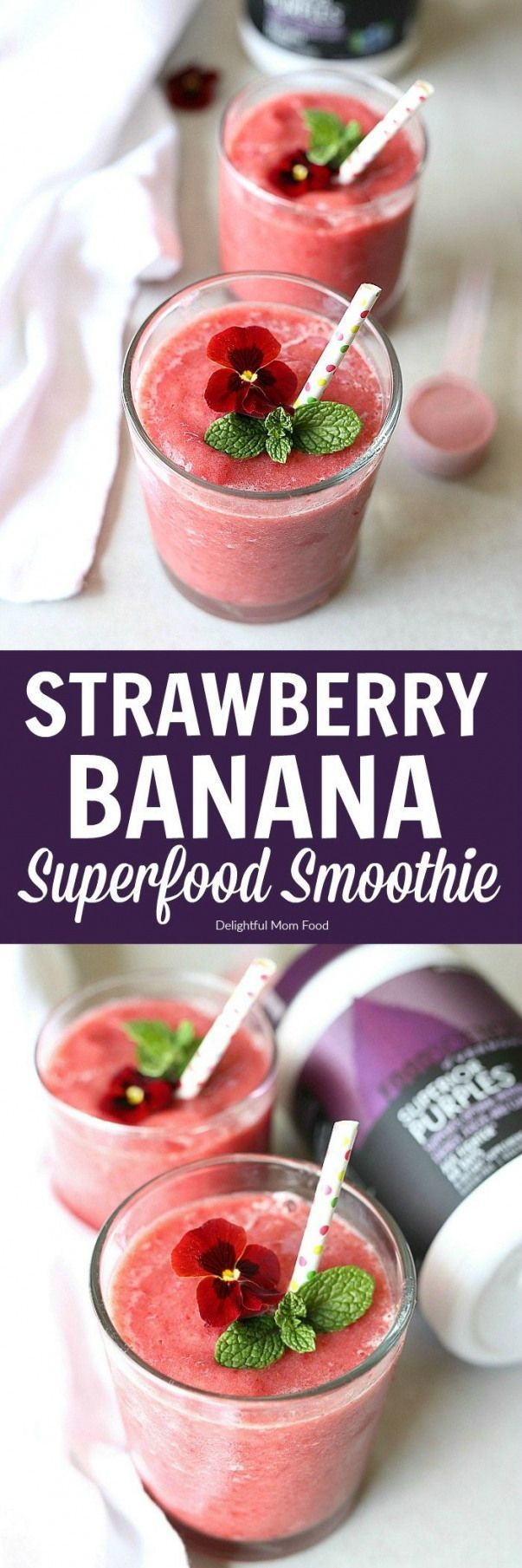 Strawberry banana smoothie recipe enriched with superfood antioxidant powder! #recipe #antioxidant #smoothie #healthy #dairyfree #livesuperior #ad #strawberry #banana | Full Printable recipe at delightfulmomfood.com #detoxsmoothie #strawberrybananasmoothie Strawberry banana smoothie recipe enriched with superfood antioxidant powder! #recipe #antioxidant #smoothie #healthy #dairyfree #livesuperior #ad #strawberry #banana | Full Printable recipe at delightfulmomfood.com #detoxsmoothie #strawberrybananasmoothie
