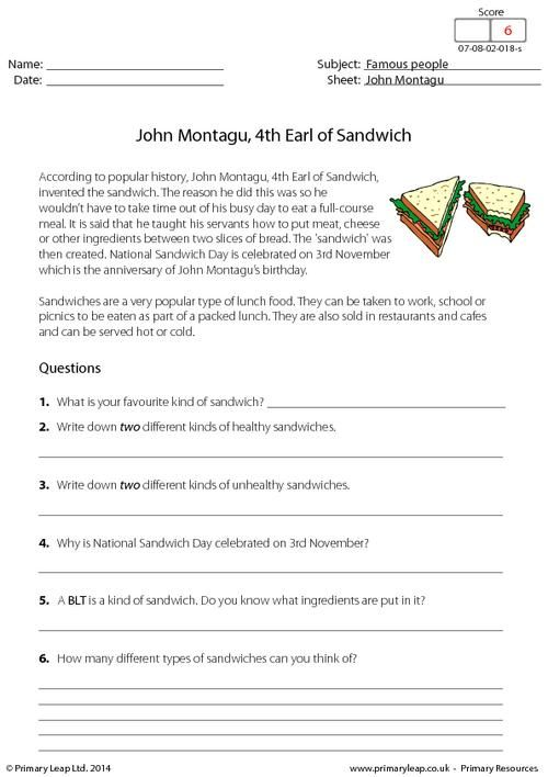 PrimaryLeap.co.uk - John Montagu, 4th Earl of Sandwich - Reading ...