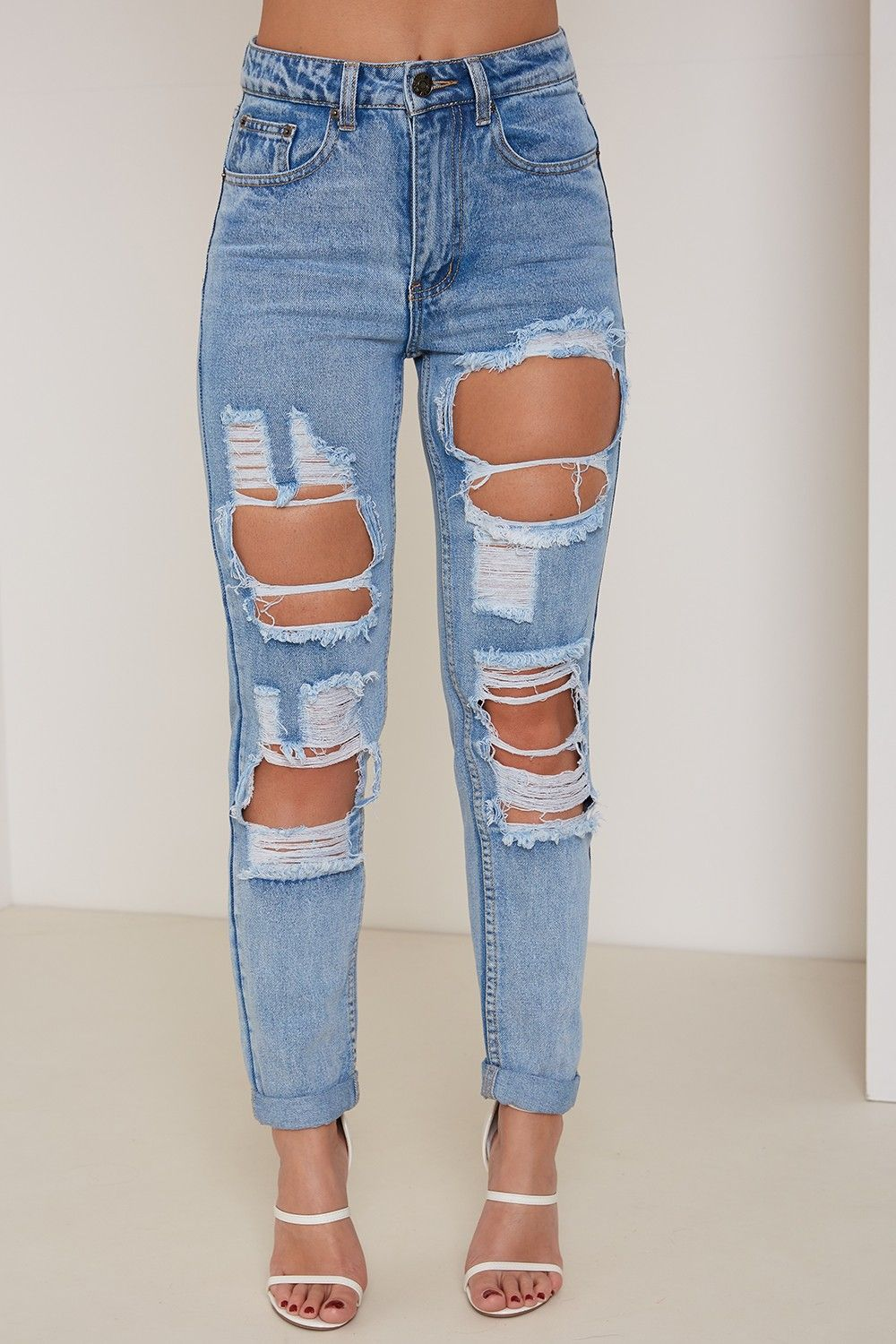 Kourtney High Waisted Mom Ripped Jeans Blue - New In | Lasula ...