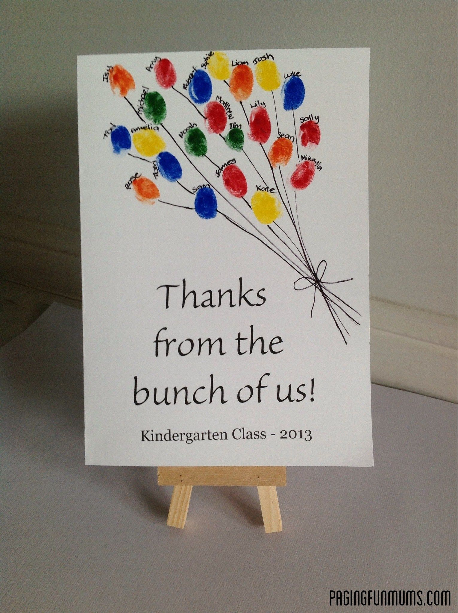 free online printable wedding thank you cards%0A Teacher aide card  u    Thanks from the bunch of us u     on white cardstock  got  each child to stamp their thumbprint using texters  water based   wrote  each child u    s